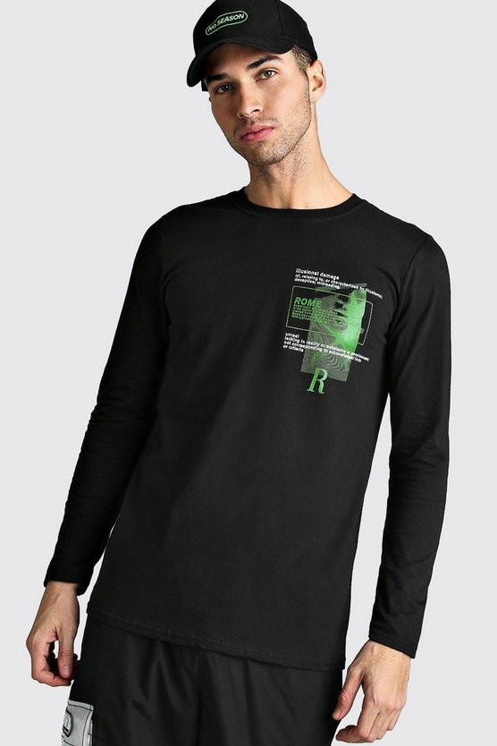 Mens Black Long Sleeve Rome Print T-Shirt
