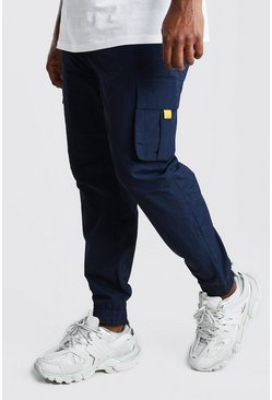 Navy Big And Tall Shell Cargo Joggers