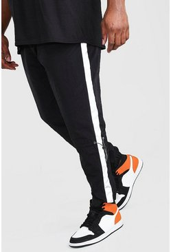 Black Big And Tall Reflective Panel Shell Joggers
