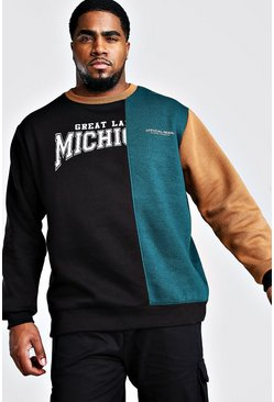 Black Big And Tall Colour Block Varsity Sweater