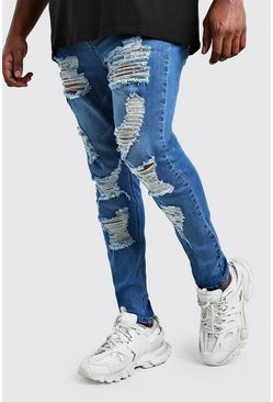 Mid blue Big And Tall Ripped Super Skinny Jean