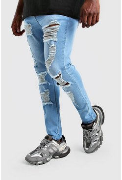 Light blue Big And Tall Ripped Super Skinny Jean