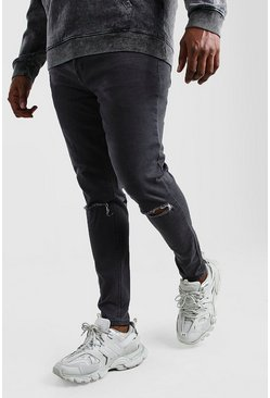 Grey Big And Tall Ripped Knee Super Skinny Jean