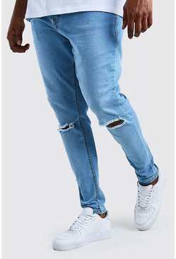 Light blue Big And Tall Ripped Knee Super Skinny Jean