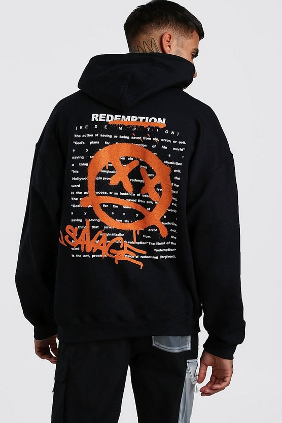 Mens Black Oversized Graffiti Back Print Hoodie