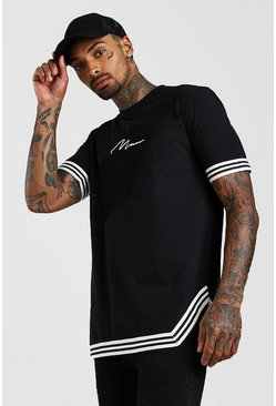 Black MAN Signature T-Shirt With Tape Detail