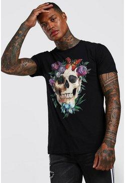 Black Floral Skull Print T-Shirt
