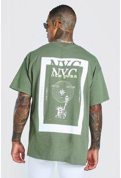 Green NYC Back Print Oversized T-Shirt