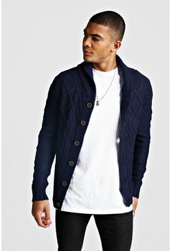 Mens Navy Long Sleeve Cardigan With Shawl Collar