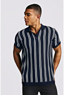 Mens Navy Short Sleeve Stripe Knitted Polo