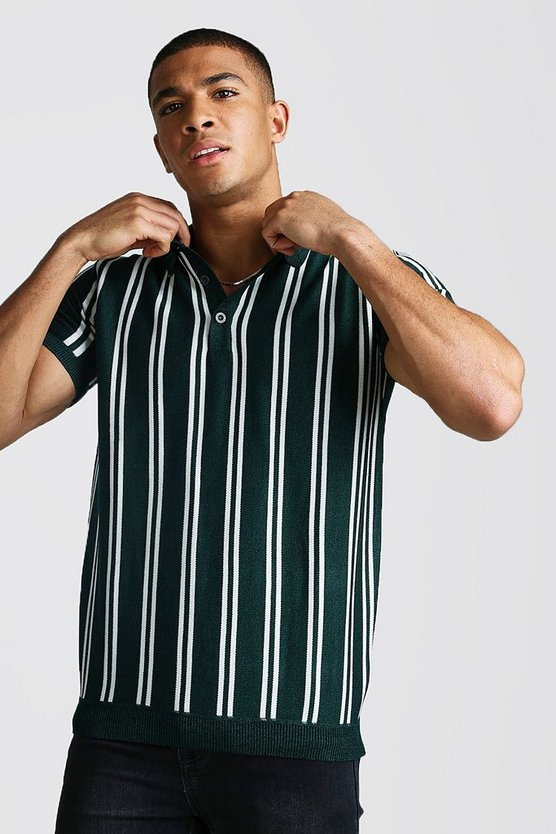Mens Green Short Sleeve Stripe Knitted Polo