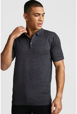 Mens Grey Short Sleeve Knitted Polo