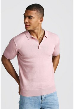 Mens Pink Short Sleeve Knitted Polo