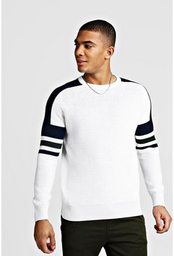 White Ribbed Colour Block Knitted Jumper