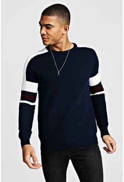 Navy Ribbed Colour Block Knitted Jumper