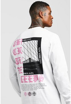 White Long Sleeve New York City Back Print T-Shirt