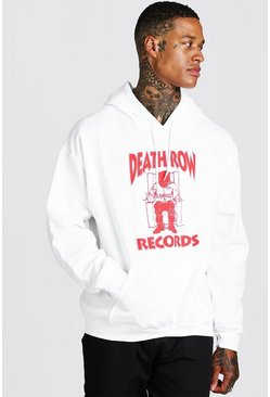 White Death Row Front Print License Hoodie