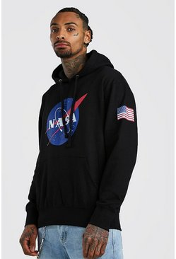 Mens Black NASA License Chest & Sleeve Print Hoodie