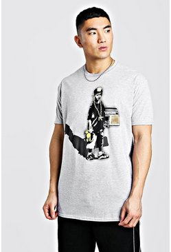 Grey Oversized Banksy Licensed T-Shirt