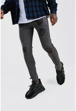 Charcoal Super Skinny Jeans With Heavy Distressing