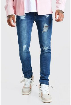Mid blue Super Skinny Jeans With Heavy Distressing