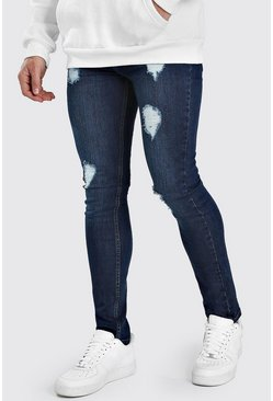 Indigo Super Skinny Jeans With Heavy Distressing