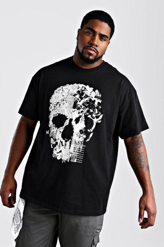 big and tall floral skull print t shirt boohooman. Black Bedroom Furniture Sets. Home Design Ideas