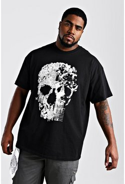 Mens Black Big And Tall Floral Skull Print T-Shirt
