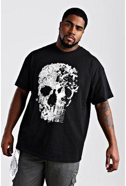 Black Big And Tall Floral Skull Print T-Shirt