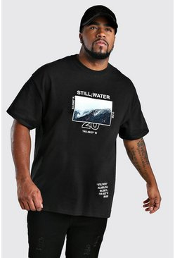 Mens Black Big And Tall Alaska Mountatin Print T-Shirt