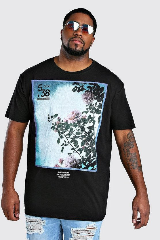 big and tall flower photograph t shirt boohooman. Black Bedroom Furniture Sets. Home Design Ideas