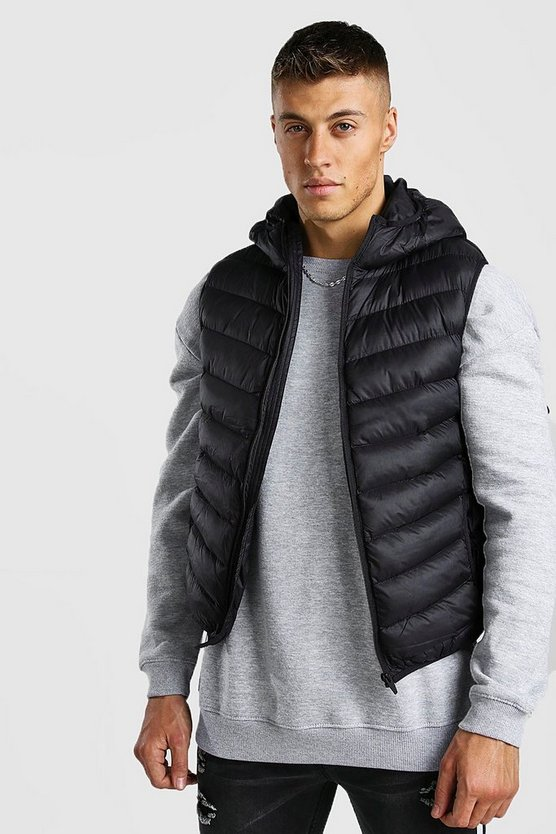 Chevron Quilt Hooded Padded Gilet With Hood by Boohoo Man