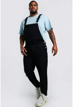 Black Big And Tall Overall With Busted Knee