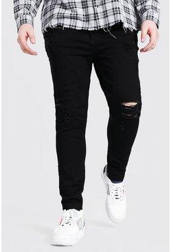 Black Plus Size Raw Hem Skinny Jean