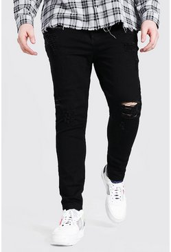 Big And Tall - Jean skinny à ourlet brut, Noir