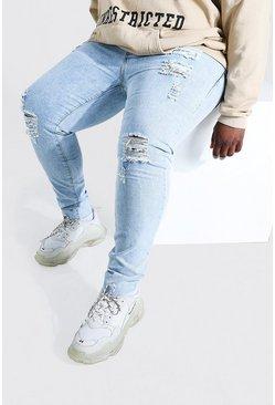 Pale blue Plus Size Raw Hem Skinny Jean