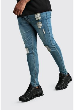 Mid blue Big And Tall Raw Hem Skinny Jean