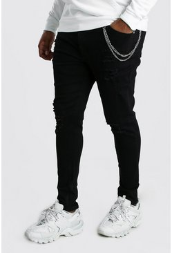 Black Big And Tall Super Skinny Jean With Chain