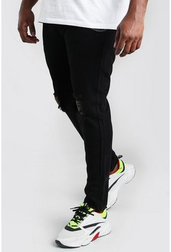 Black Big And Tall Rigid Skinny Jean With Chain
