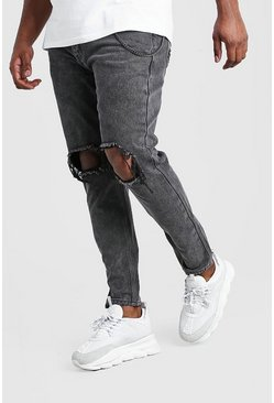 Big And Tall - Jean skinny rigide avec chaîne, Anthracite