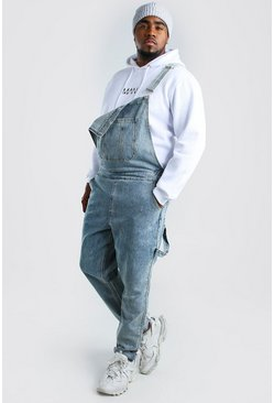 Big & Tall Slim-Fit Latzhose aus Denim, In heller waschung