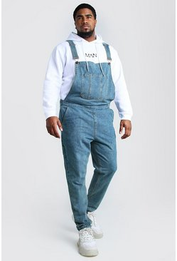 Mid wash Plus Size Slim Denim Dungarees