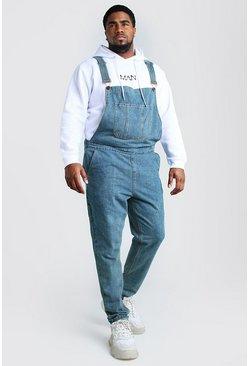 Mid wash Big And Tall Slim Denim Overalls