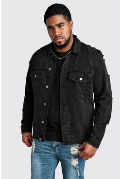 Washed black Plus Size Distressed Denim Jacket
