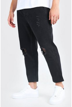 Washed black Big And Tall Busted Knee Skinny Fit Jean