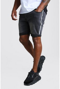 Charcoal Big And Tall Skinny Jean Short With Side Tape