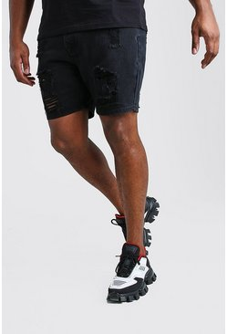 Washed black Big And Tall Slim Distressed Jean Short