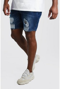 Dark blue Plus Size Slim Distressed Denim Short
