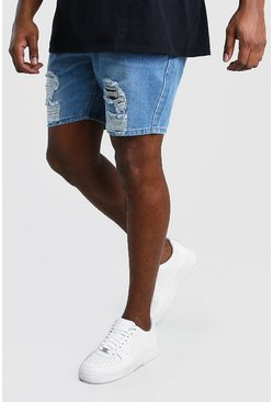 Big & Tall Slim-Fit Jeansshorts in Destroyed-Optik, Mittelblau