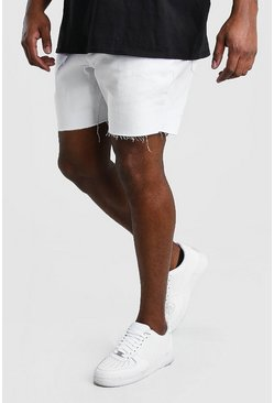 White Big And Tall Slim Jean Short With Belt